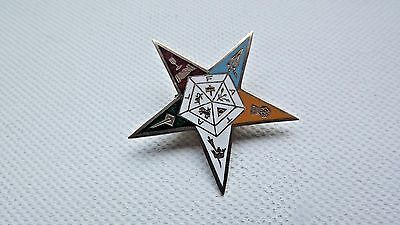 Antique 9ct gold and enamel order of the eastern star freemason Fob or brooch