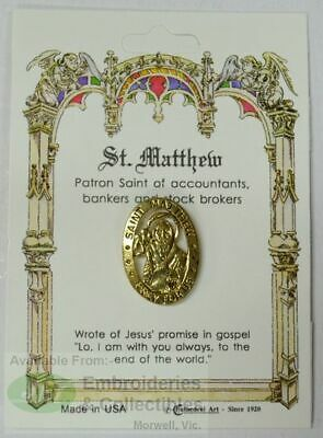 St. Mathew Patron Saint Lapel Pin, Gold Tone, Patron Of Accountants, Bankers and