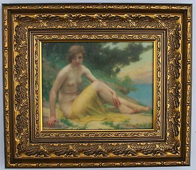 Nude Lady Framed Oleograph / Oilograph  R830#GE  Reproduction Antiques  Art