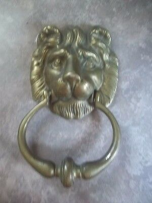 Vintage Solid Brass Lion'S Head Ornamental Door Knocker Estate Find