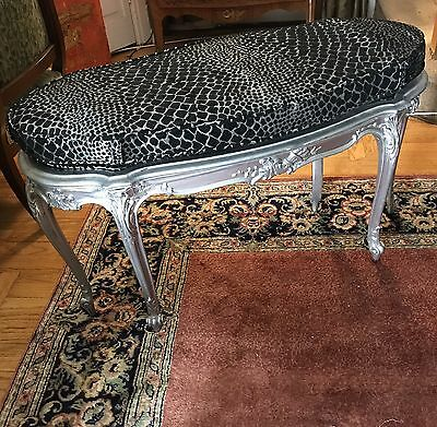 Unusual Antique Shaped French Louis XV Silvered Window Bedroom Bench