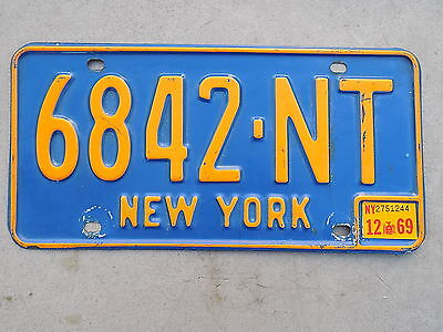 1966 1969 New York NY License Plate 6842-NT Niagara County Original FastFreeShip
