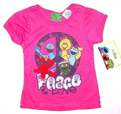 Sesame Street Girls Elmo Peace Love Short Sleeve Top Toddler Infant Size 24 m 3T