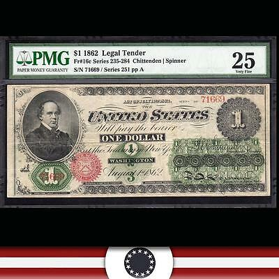 1862 $1 Dollar Legal Tender Bank Note GREEN BACK Currency Fr 16c PMG 25 71669