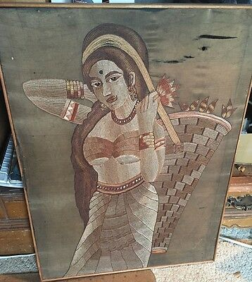 Vintage INDIA Indian FOLK ART Needlework Textile Thread Figural Shino Krumar ???