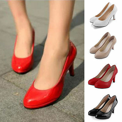 Ladies Womens Patent Leather Comfort Round Toe Kitten High Heel Pump Dress Shoes