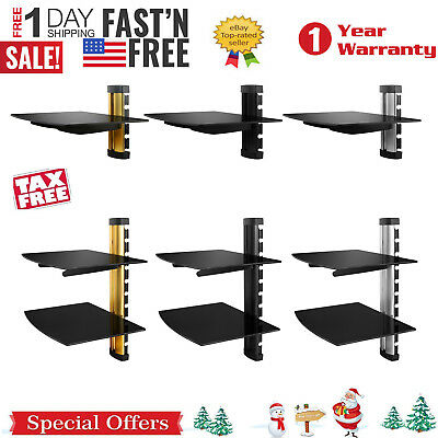 2 Tier Dual Glass Shelf Wall Mount Under Tv Cable Box Component Dvr Dvd Bracket