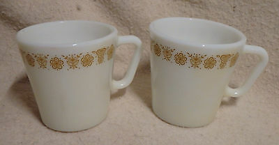 2 Vintage PYREX Butterfly Gold D handle Coffee Cups Milk Glass Mugs EUC
