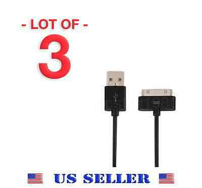 Lot of 3 Black USB Cable Charger Data Sync for Apple iPod iPhone 3 3GS 4 4S 4G
