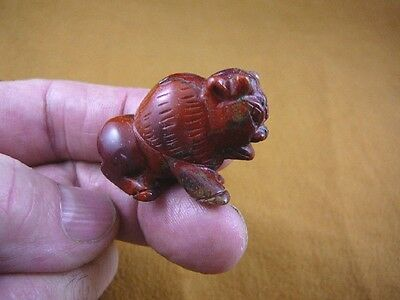 (Y-BUF-555) little Red jasper BUFFALO bison gemstone carving gem figurine stone