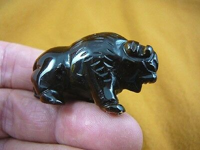 (Y-BUF-560) little brown Tiger's eye BUFFALO bison gemstone carving gem figurine