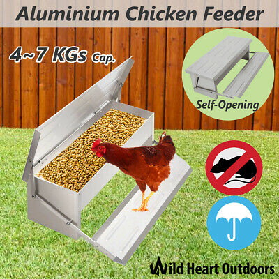 Chicken Feeder 4-7KG Automatic Aluminium Chook Treadle Self Opening Poultry Rat-