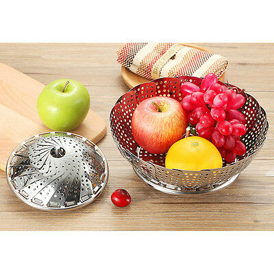 Foldable Stainless Steel Vegetable Steamer Easy Fold Kitchen Tool Food Steam