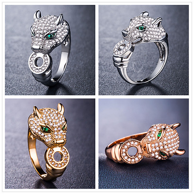 925 Silver,gold,rose Gold Fashion Leopard Jewelry White Sapphire Ring Size 6-10