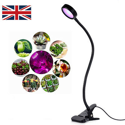 UK LED Plant Grow Light  Florally Clip-On10W Adjustable 2 Level Dimmable Desktop