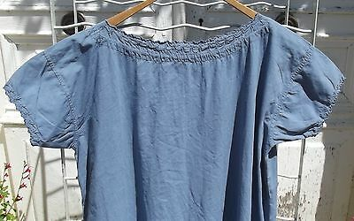 Antique French Chemise Tunic Smock dress Cotton Shift Woad Blue