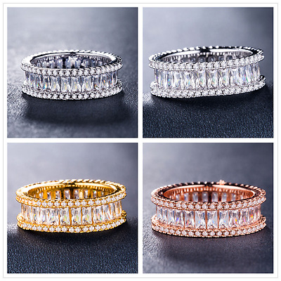 Gorgeous 925 Silver,gold,rose Gold Women Jewelry White Sapphire Ring Size 6-10