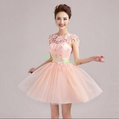 Sexy Women Floral Formal Party Ball Gown Prom Evening Bridal Wedding Short Dress