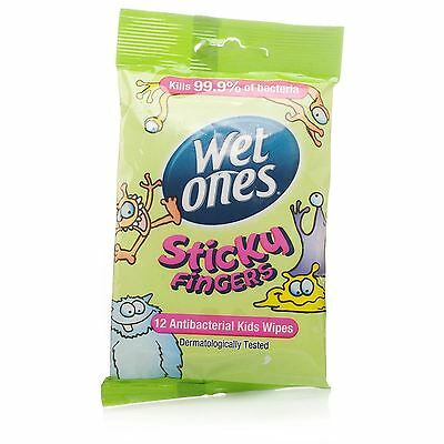 Wet Ones Sticky Fingers Antibacterial Baby / Adult / Handbag Wipes - 72 Pack