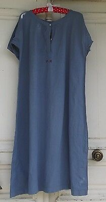 Antique French Chemise Tunic Smock dress Workers Shift Woad Blue