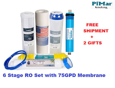6 Stage Reverse Osmosis Water Filter Kit Set Unit 75 GPD Membrane