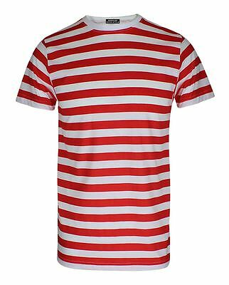 Mens Red and White Stripe T Shirt Short Sleeve Boys Cotton Book Week Top Tees