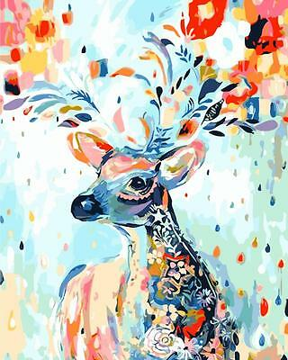 Watercolor Nordic Deer Landscape Canvas Painting Picture Wall Art Poster Print