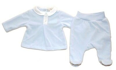 Baby Romany Spanish Style Set Sky Blue Corded Velour 2 Piece Outfit by Mintini