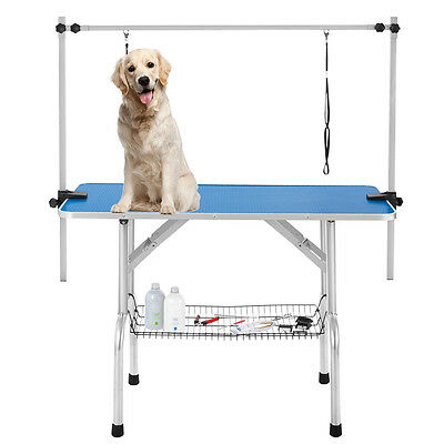 Portable Large Dog Pet Grooming Table Foldable Steel Frame 2 Adjustable Arm Blue