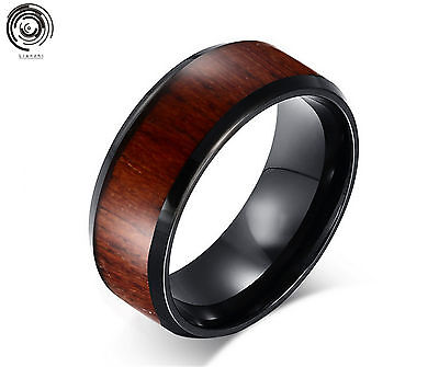 8MM Tungsten Carbide Red Wood Inlay Black Plat titanium wedding bands mens jewel