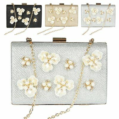 Women Lady Diamante Pearl Wedding Party Bridal Evening Clutch Bag Handbag Purse