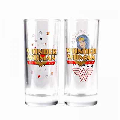 Official Dc Comics Set Of 2 Wonder Woman Drinking Glasses New In Gift Box