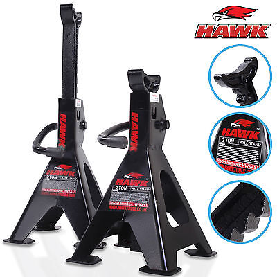 Hawk 2 Ton 4 Ton Pair Garage Workshop Car Mechanic Ratchet Lift Axle Jack Stand
