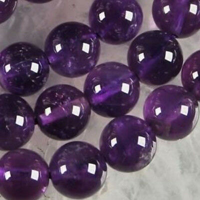 "8mm Russian Amethyst Gemstone Round Loose Beads 15"" LL0088"