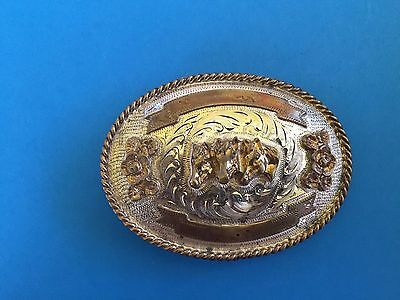 Vintage Western Belt Buckle with Horse heads