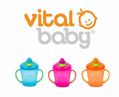 Vital Baby Cup Free Flow First Drinking Trainer Soft Flip Spout 180ml 4m+