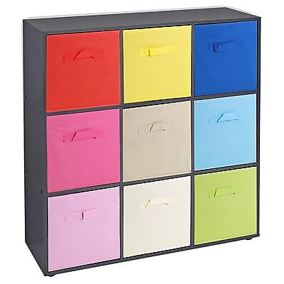 Wooden 9 Cubed Cupboard Storage Units Shelves With 9 Drawers Baskets Organisers