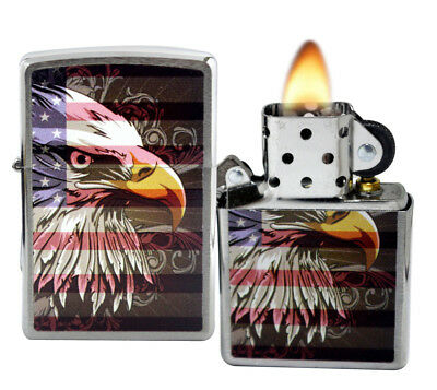 Zippo 28652 Eagle and Flag Brushed Chrome Windproof Pocket Lighter Classic NEW