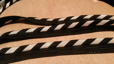 2 Yards BLACK Gold Silver Trim Piping Fringe Tassel Curtain Pillow Trim 1/2 Inch