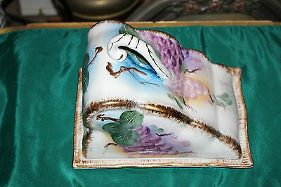 Antique Hand Painted Ceramic Porcelain Lidded Cheese Cake Plate-Painted Grapes