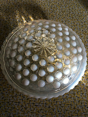 Anchor Hocking Moonstone Opalescent Hobnail Powder Trinket Box w/Lid ~including.