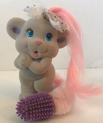 1987-1989 AmToy Tyco Kiss A Loves Toy Pink Hair Purple Brush Polka Dot Bow