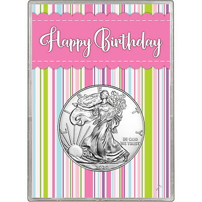 2019 Silver American Eagle BU in Pink Happy Birthday Gift Holder