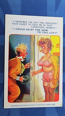 Risque Bamforth Comic Postcard 1960s Large Boobs Nylons Stockings Pink Knickers