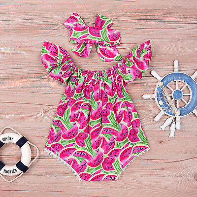US Stock Toddler Baby Girls Kids Outfit Bodysuit Romper Jumpsuit Sunsuit Clothes