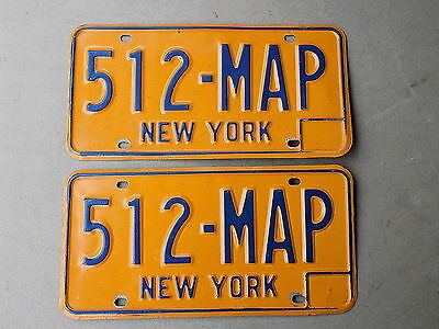 1973 - 1980 Pair of New York NY License Plate 512-MAP Blue on Orange DMV Clear!
