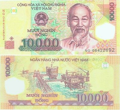 MINT VIETNAM 1 x 10000 DONG POLYMER BANKNOTE-UNCIRCULATED! FREE S&H.