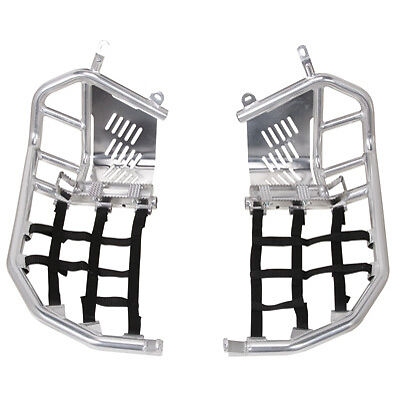 Tusk Foot Peg Nerf Bars / Heel Guards Silver / Blk Webbing - KFX 450R 2008-2014