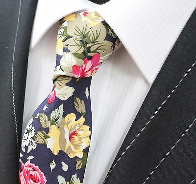Tie Neck tie Slim Dark Blue with Large Floral Quality Cotton T6166