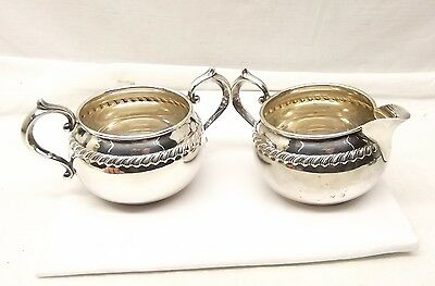 Vtg Gorham Sterling Silver Victorian Scroll Sugar Bowl Creamer Set Coffee 912 91
